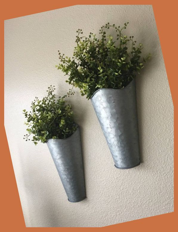 Galvanized Wall Tins, Set of One or Two, Farmhouse Spring, Rustic Wall Decor, Sconce with Flo... #dormroomideasforguys