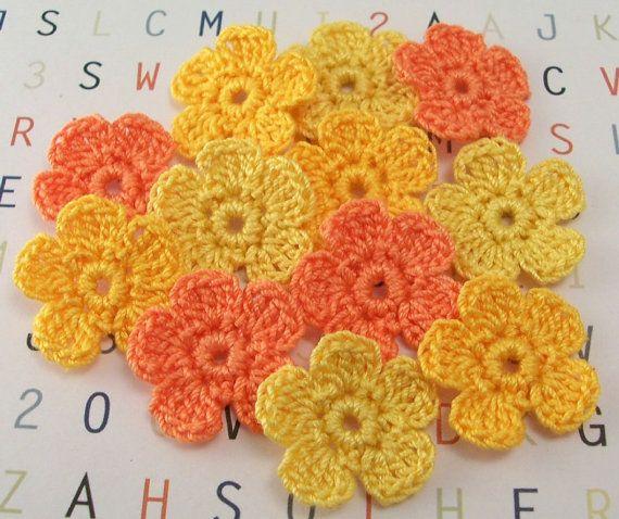 Crochet Orangish Yellow Flower Appliques by FineThreads on Etsy, $4.20