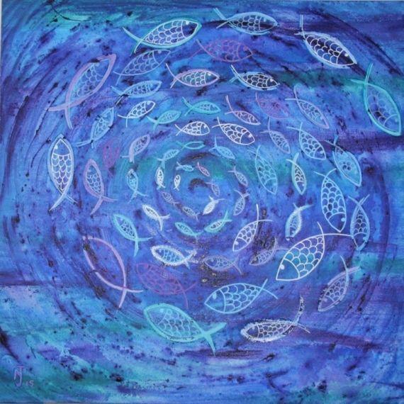 tableau peinture poissons oc an fons marins mer abstrait acrylique eaurigine arts visuels. Black Bedroom Furniture Sets. Home Design Ideas