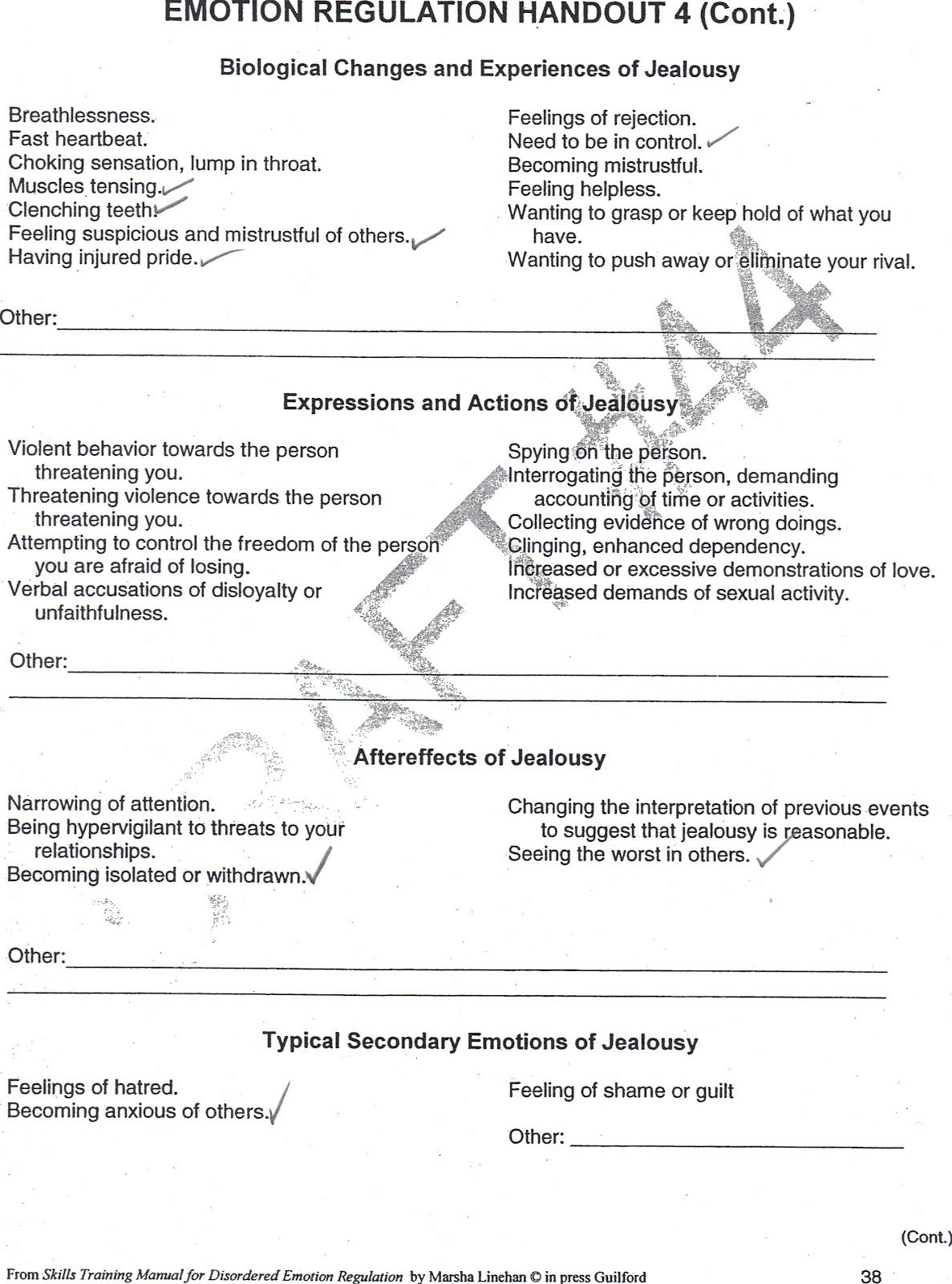 worksheet Ocd Worksheets jealousy worksheet healingfrombpd org emotion worksheets
