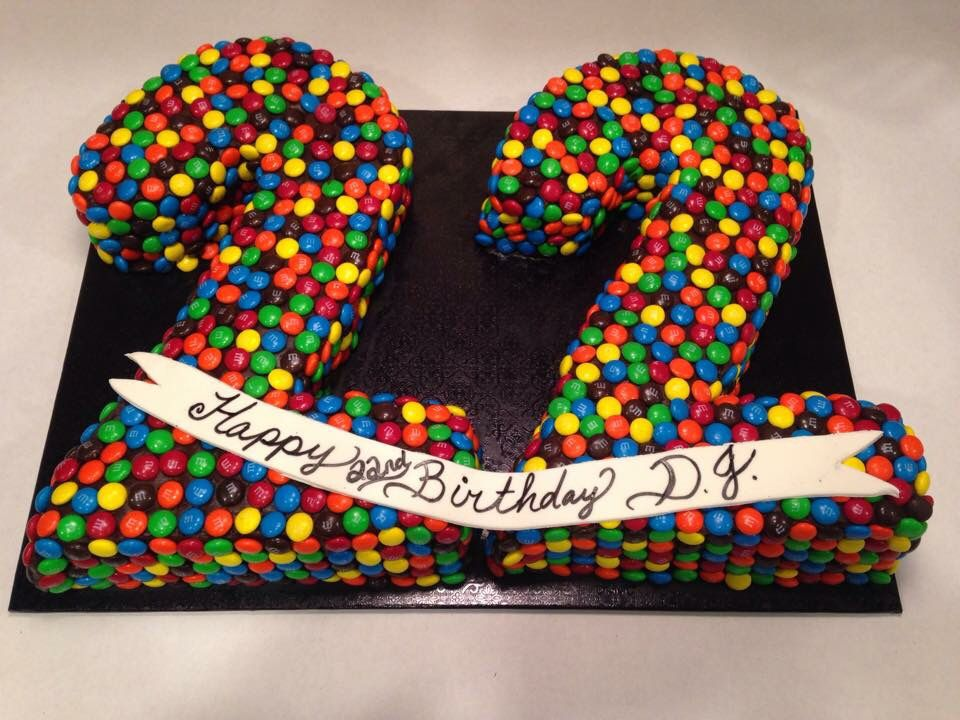 Birthday cake covered in m & m's