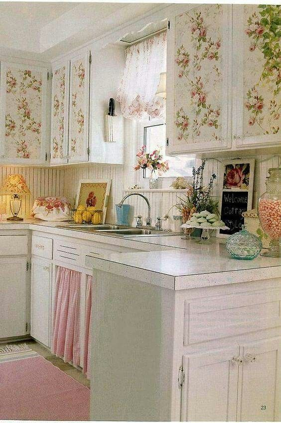 Pink And Green Kitchen Kitchen Wallpaper Shabby Chic Shabby Chic Kitchen Cottage Style Interiors