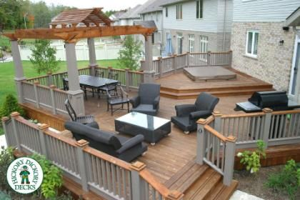 This Large 800 Square Foot Multi Level Deck With Spa And Pergola Was Constructed In Waterloo The Materials Used In The Deck With Pergola Patio Decks Backyard