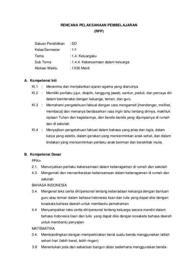 Rpp K13 Kelas 4 : kelas
