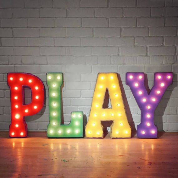 On Sale 21 Play Metal Sign Playroom Game Room Den Etsy Vintage Marquee Letters Marquee Lights Light Up Letters