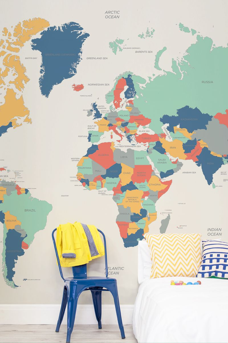 Make learning fun with this world map mural this stunning wallpaper make learning fun with this world map mural this stunning wallpaper design is equally beautiful as it is educational each country is coloured in with a gumiabroncs Images