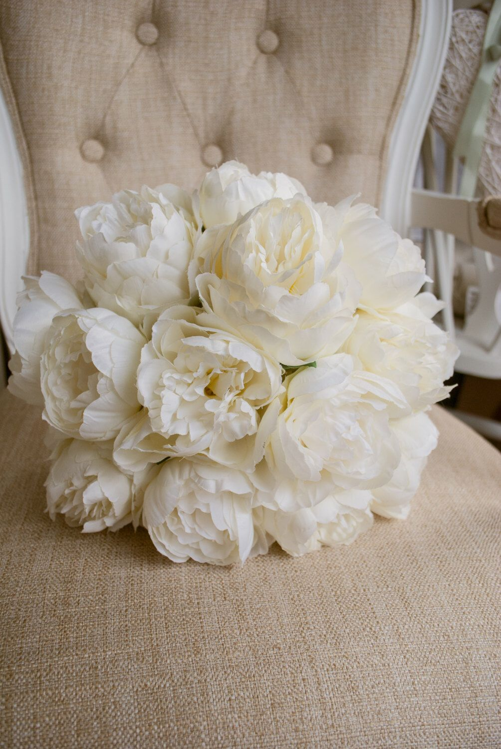 White peony bouquet - silk flowers - Laurel Weddings from my Etsy shop https://www.etsy.com/uk/listing/263812774/luxury-ivory-peony-wedding-bouquet-made