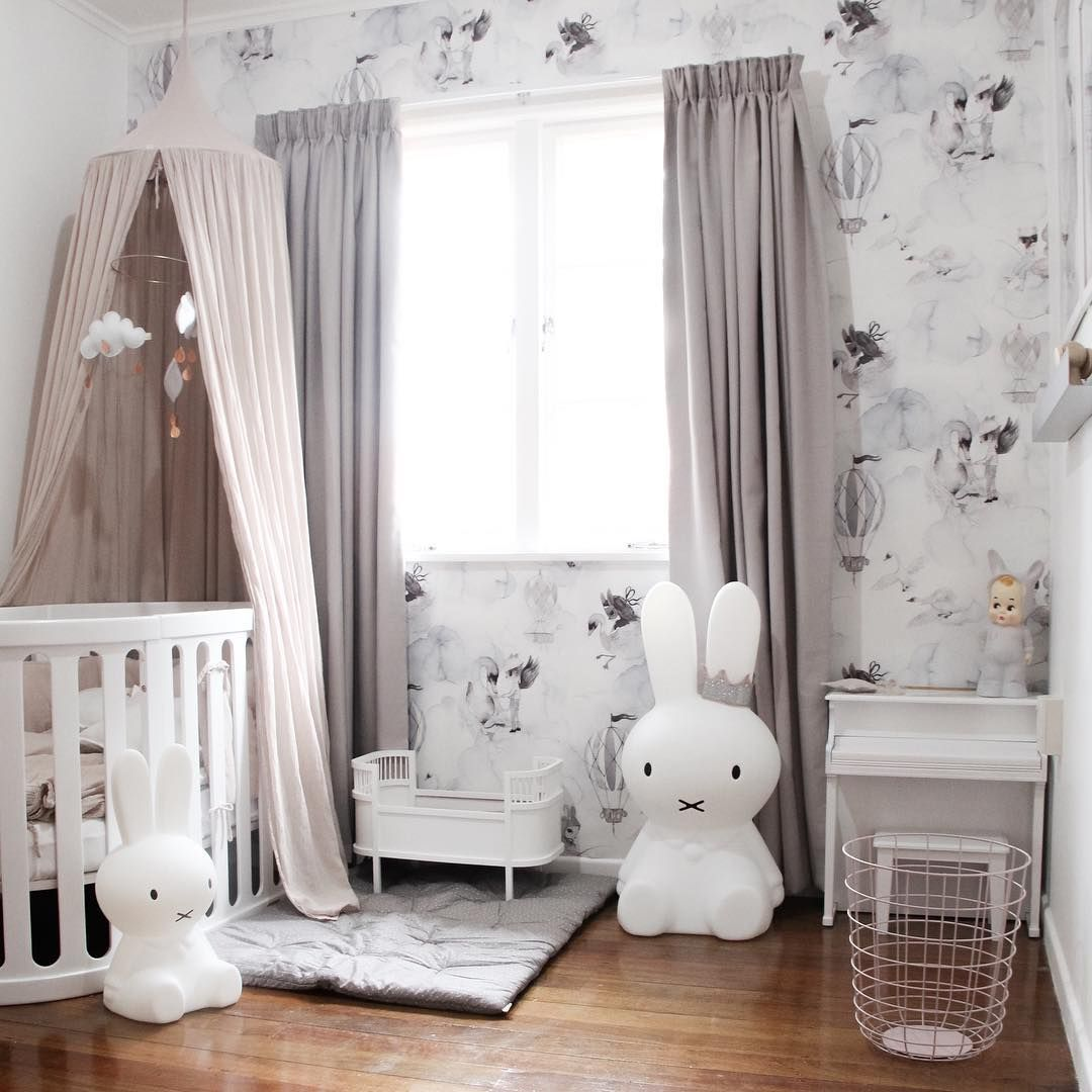 "Modern Nursery Wallpaper: ""Credit: @blondeandbone """