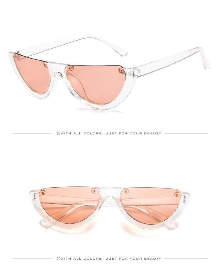 7b9728da4fed Half Frame Sunglasses Womens Vintage Rimless Shades Trendy Cat Eye Sun  glasses Brand Designer Rimless Glasses Retro Eyewear