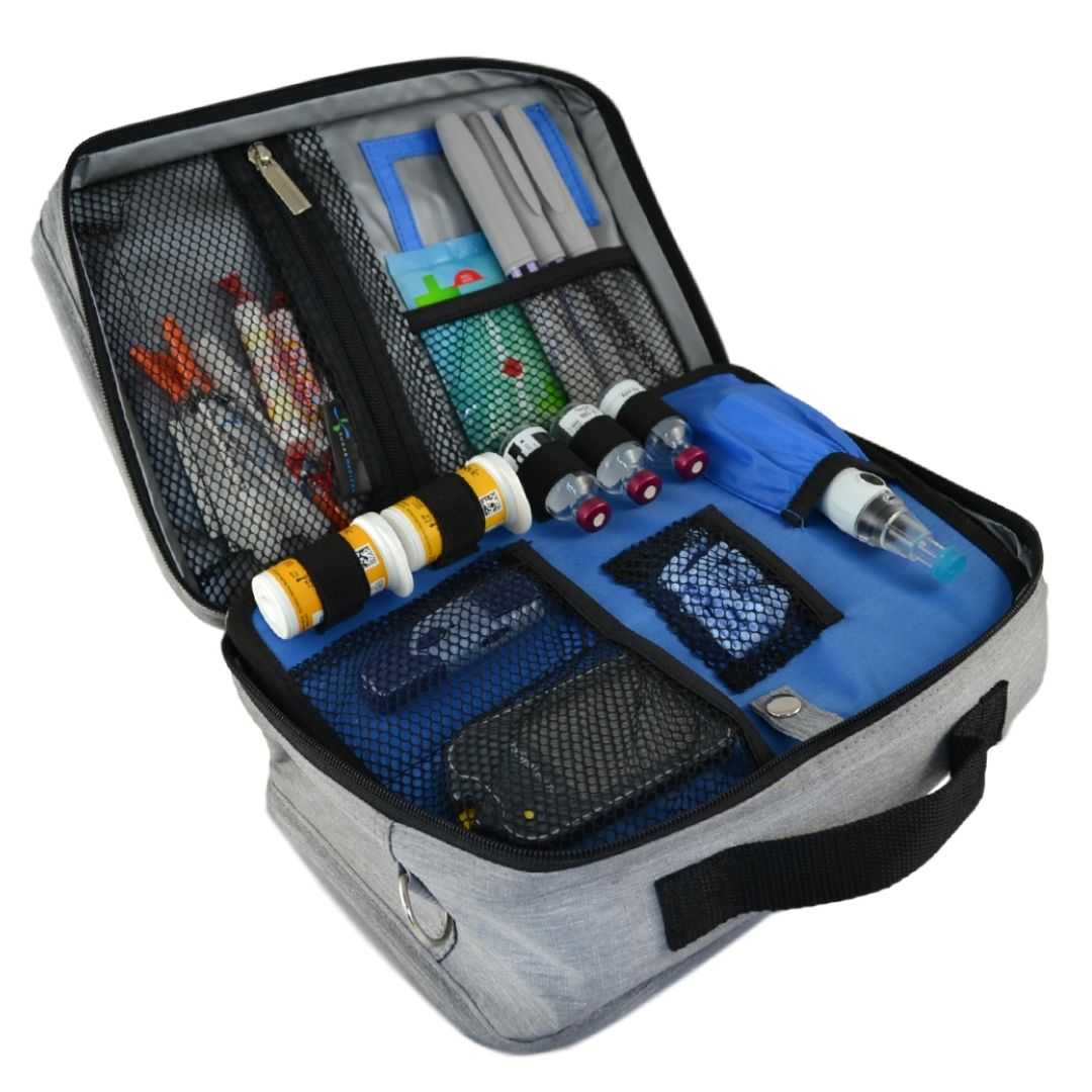 We Ve Got Your Perfect Insulated Diabetes Organizer For Travel School Or Work Now Available In Solid Grey And Poppy F Travel Bags Insulated Diabetes Supplies
