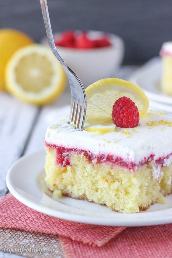 This Lemon Raspberry Poke Cake Is An Easy Lemon Cake Soaked In Sweetened Condensed Milk With A Fresh Lemon Desserts Easy Lemon Desserts Lemon Dessert Recipes