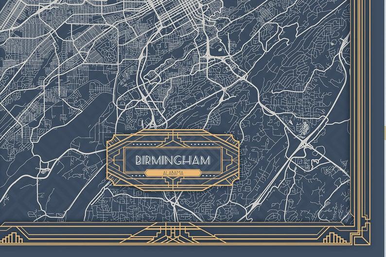 Birmingham Al Alabama Canvas Map Print Art Deco Style Large Etsy In 2020 Large Canvas Prints Vertical Wall Art Map Print