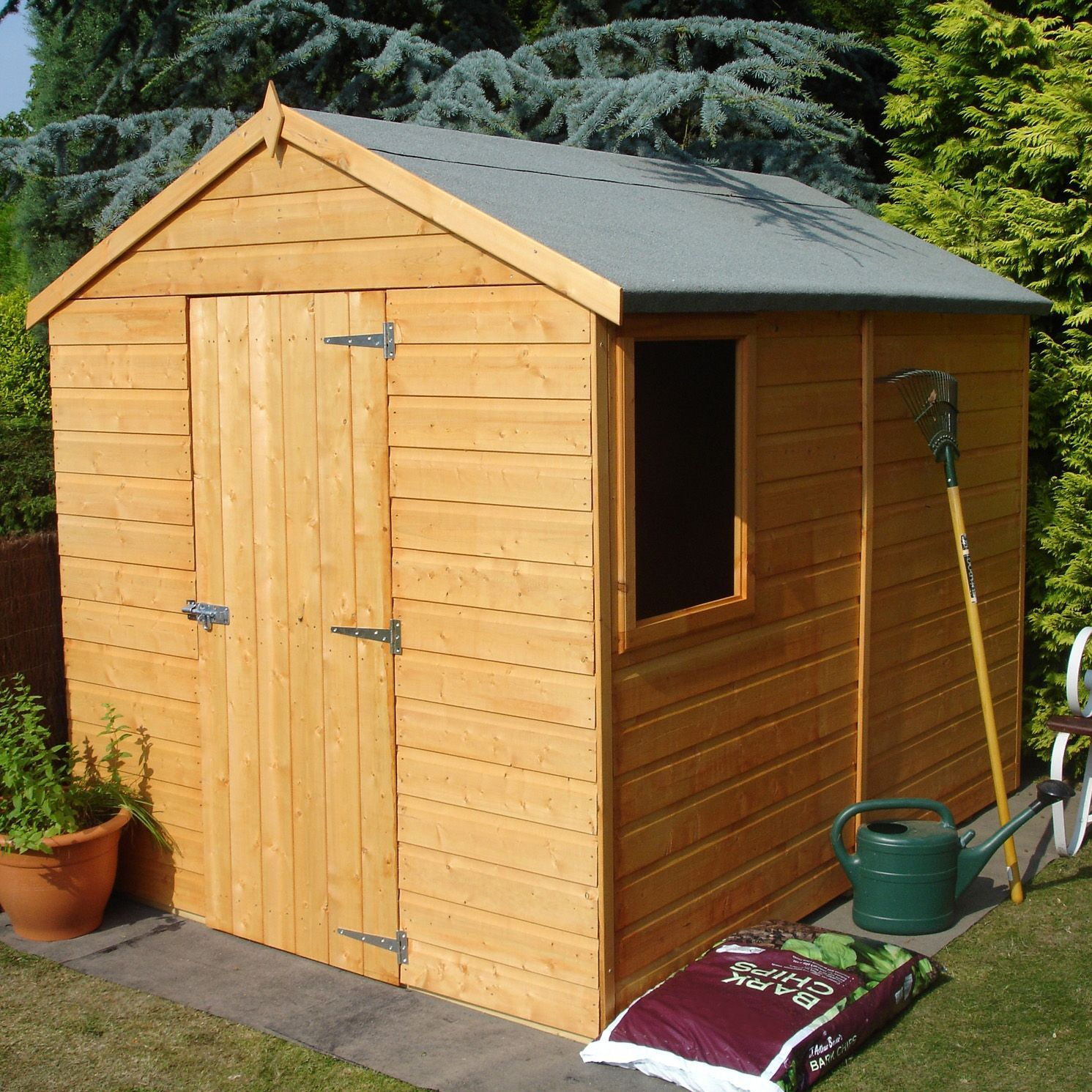 Shire Durham 8x6 Apex Shiplap Wooden Shed Base Included Honey Brown In 2020 Wooden Sheds Building A Shed Shed
