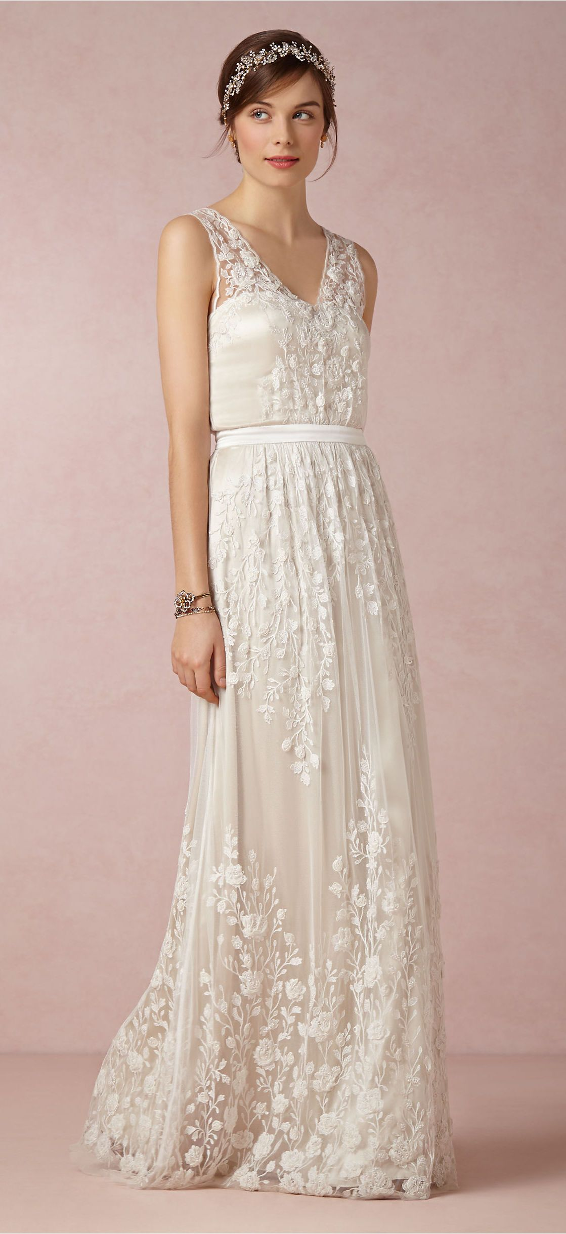 Bhldn catherine deane lace and silk embroidered wedding dress
