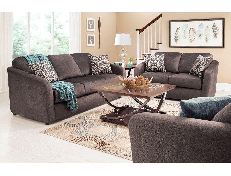 Slumberland marshall collection 4pc brown room package - Slumberland living room furniture ...