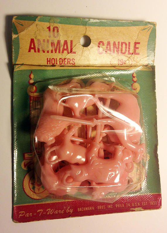 Set Of 10 Retro Birthday Party Candle Holders Pink Plastic Animals For A Cake