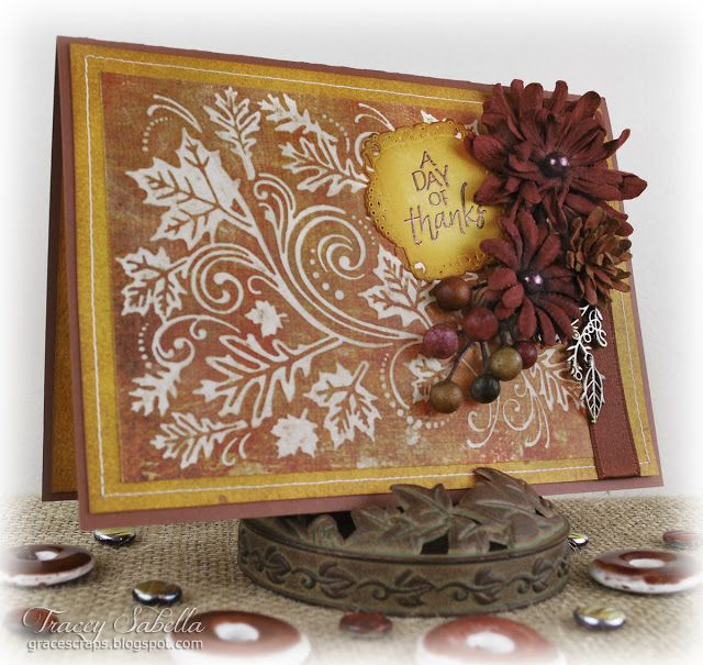 Thanksgiving Wishes Card by Tracey Sabella for Helmar ~ Helmar Quickfix Adhesive Runner, Helmar 450, BoBunny, Dry Embossing, Darice, Sanding, Flowers, BoBunny Wildberry Daisy, Ribbon ~ Really Reasonable Ribbon, Heat Embossing, Stitching, Stamping, Spellbinders Decorative Labels Twenty Two, Layering