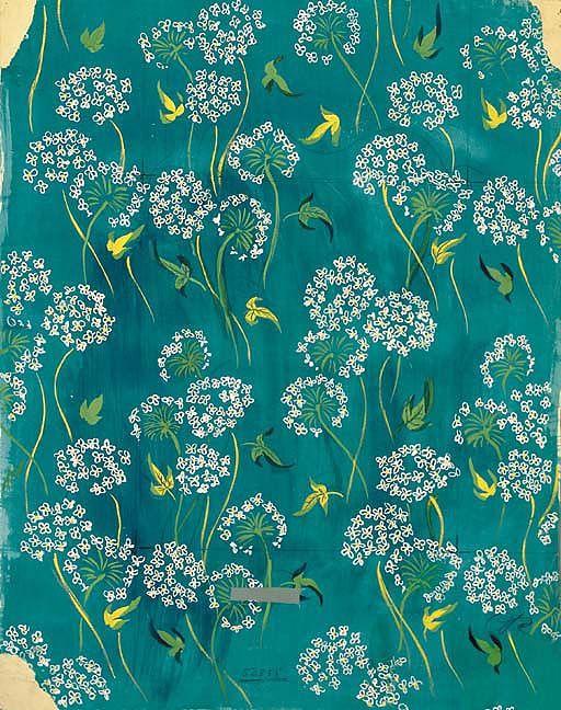 Raoul Dufy Composition de Fleurs stylisées sur fond bleu, pencil and body colour on paper