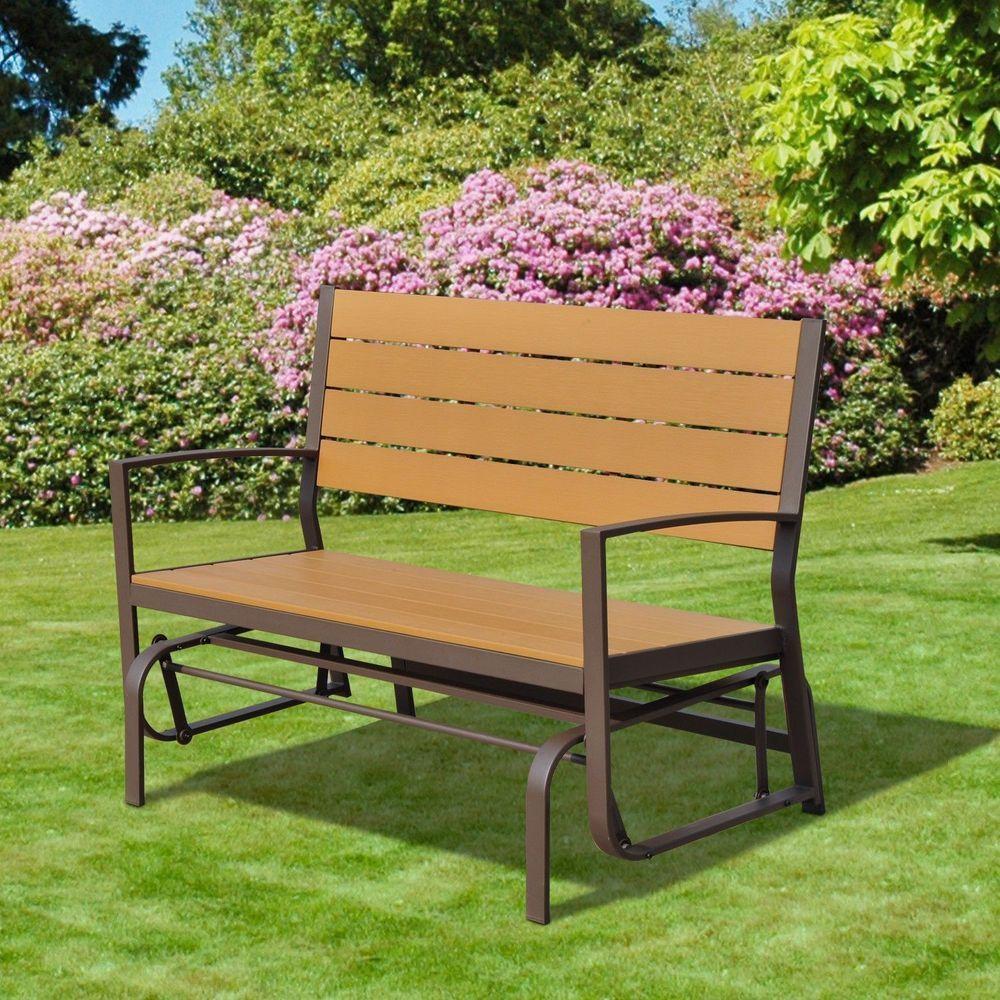 2 Seater Garden Bench Glider Steel Frame Wooden Teak Colour