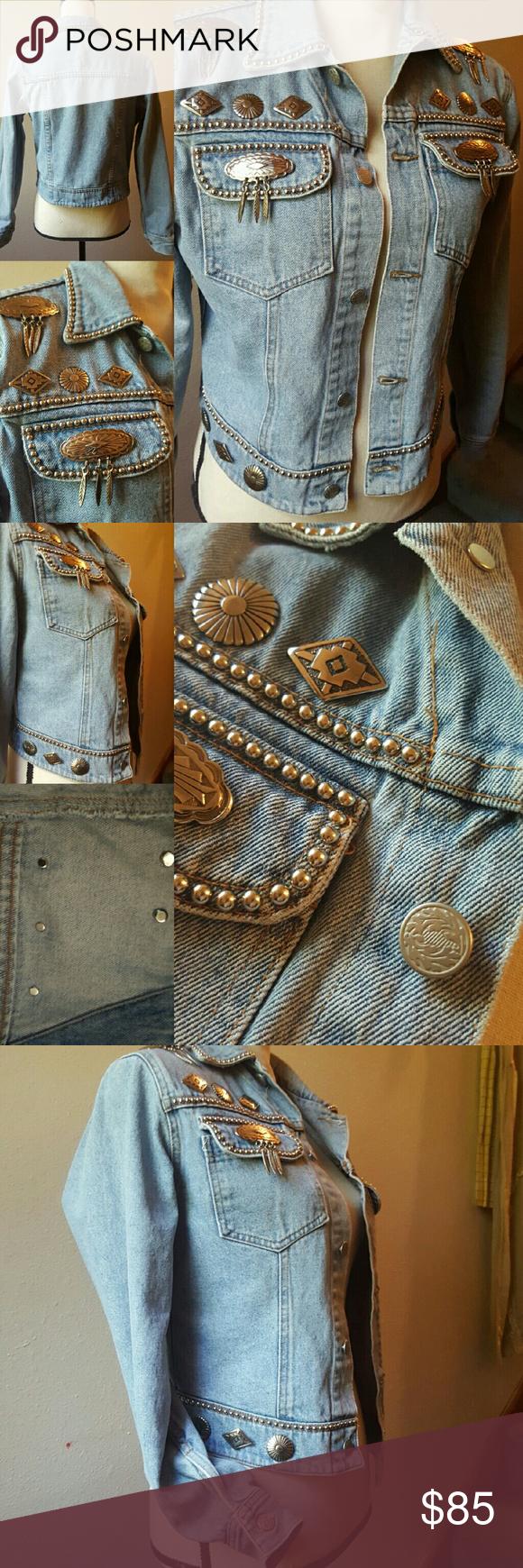 Vintage Western Denim Jacket Silver Conches Embellished Denim Jacket Embellished Clothing Denim [ 1740 x 580 Pixel ]