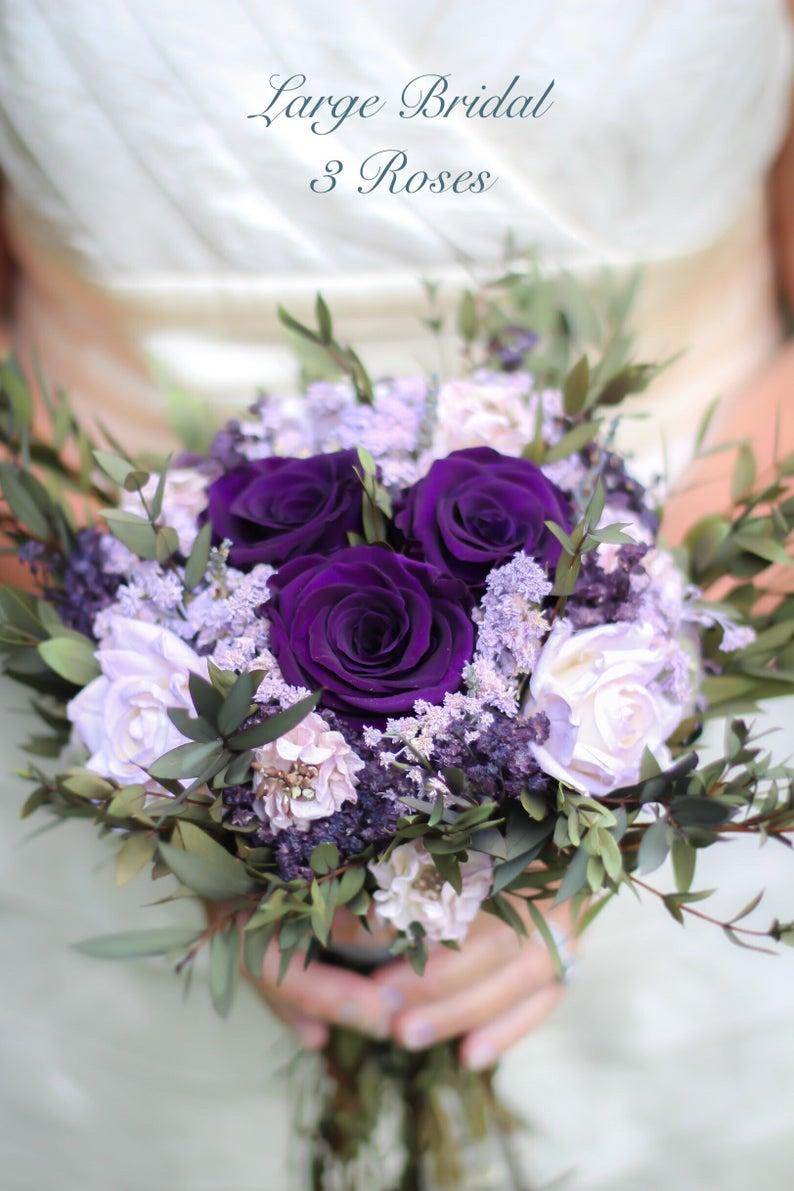 Purple Bouquet Dried Flower Bouquet Plum Lavender And Etsy Flower Bouquet Wedding Dried Flower Bouquet Purple Wedding Bouquets