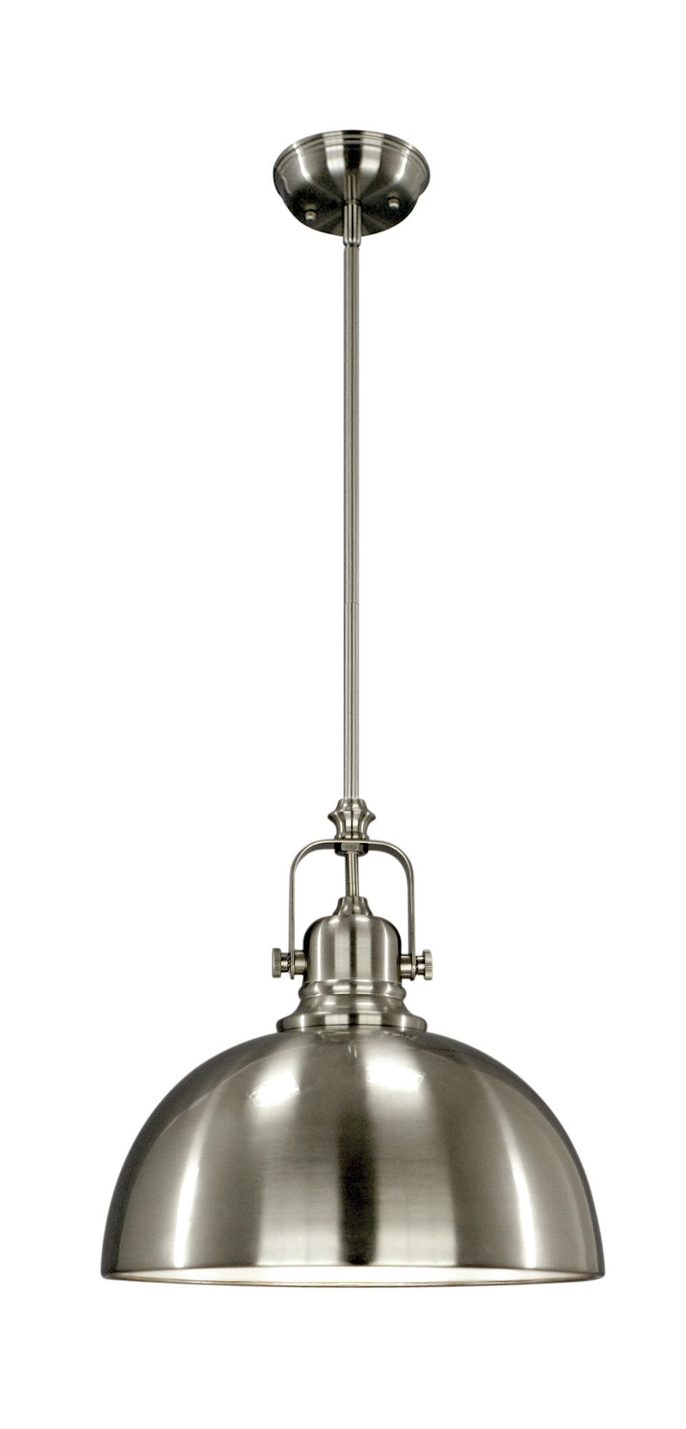 Industrial pendant light fixture in brushed nickel or