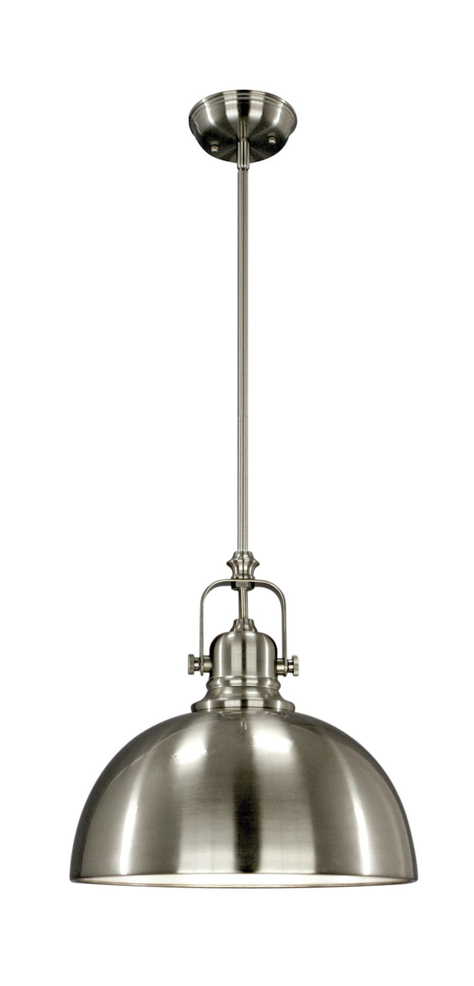 Industrial pendant light fixture in brushed nickel or ...
