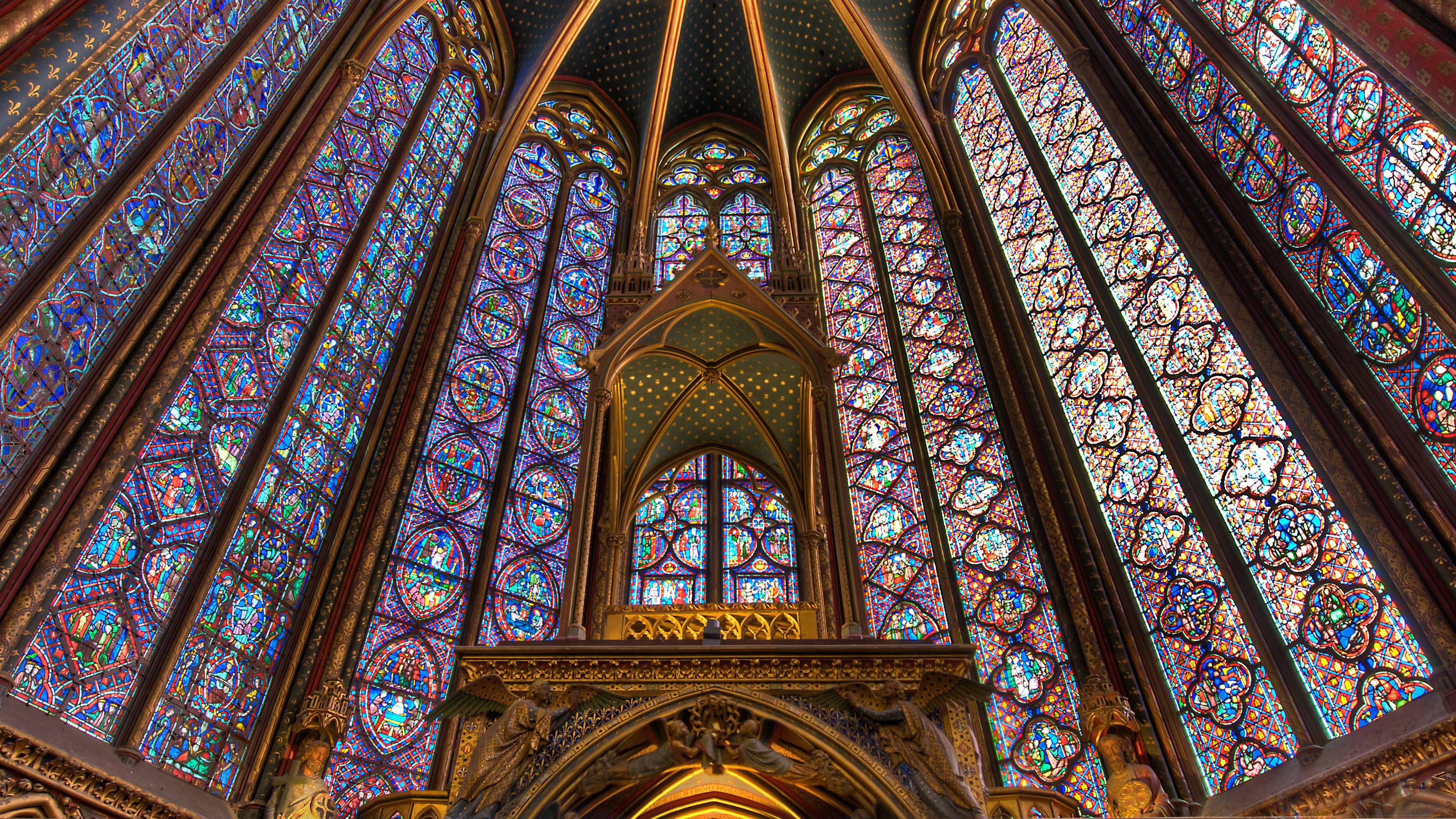 The Most Beautiful Medieval Stained Glass Is In Paris At Sainte Chapelle WQHD Wallpapers