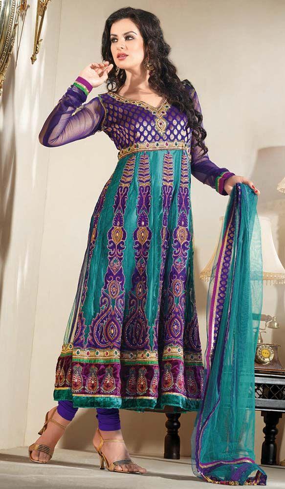 Turquoise Kalidar Churidar