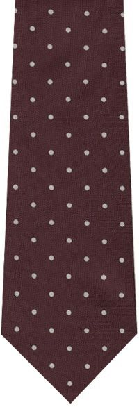 White On Burgundy Printed Dot Silk Tie #3