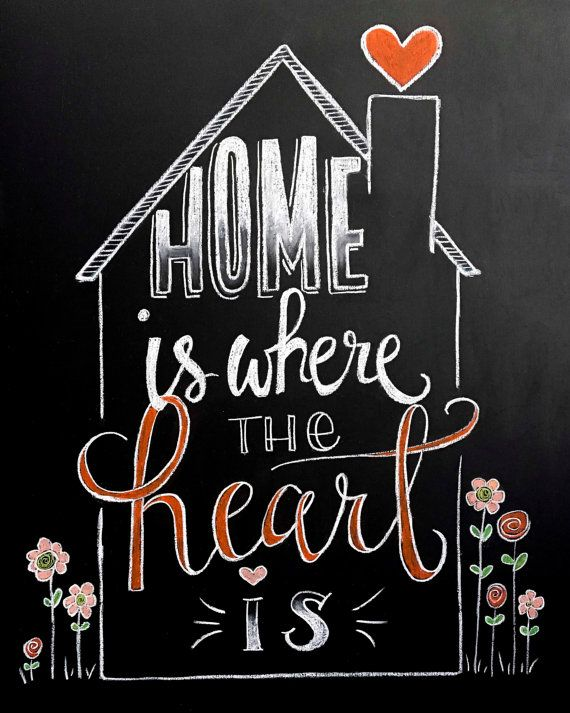 Chalkboard Flowers sign  Home is Where the Heart is