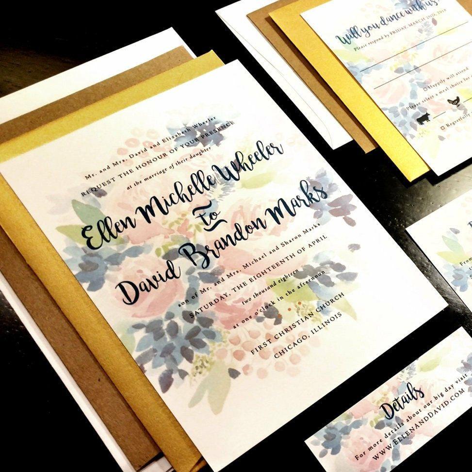 Watercolor Flower Custom Unique Wedding Invitation Paint Outdoor