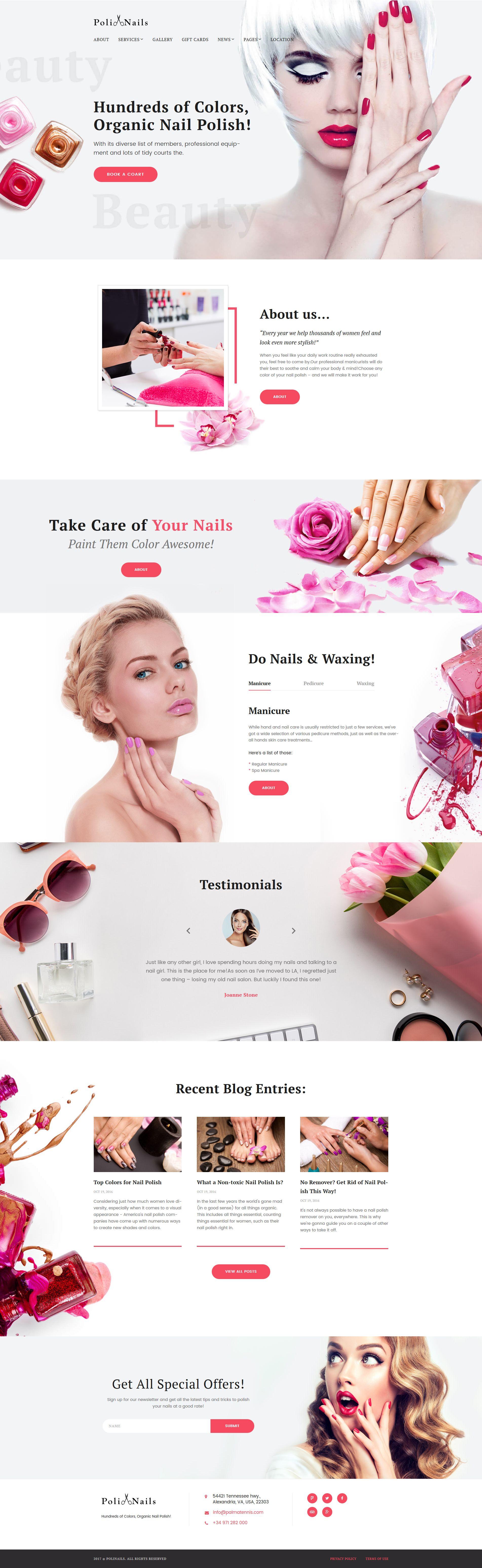 PoliNails Nail Salon WordPress Theme Веб Pinterest