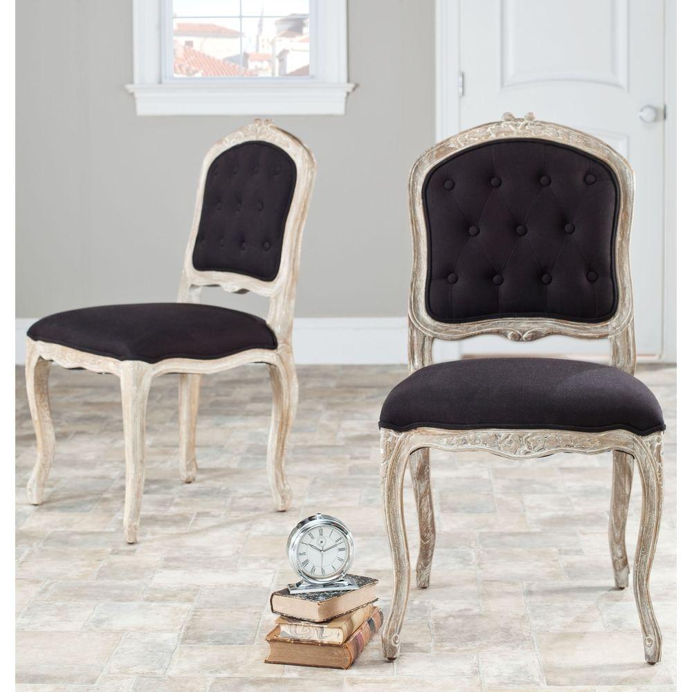 Black White Floral Dining Side Chair Set: Safavieh Old World Dining Montreux Black/ Antiqued White