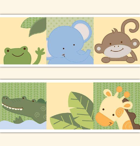 SAFARI ANIMAL DECAL Wallpaper Border Jungle Nursery Wall Stickers ...