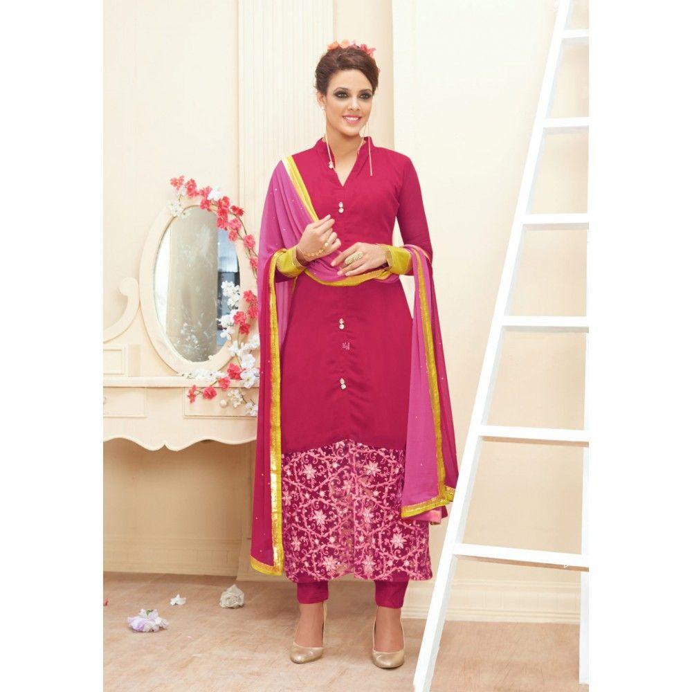 Pink Santoon Bridal #Churidar Kameez With Dupatta- $35.67