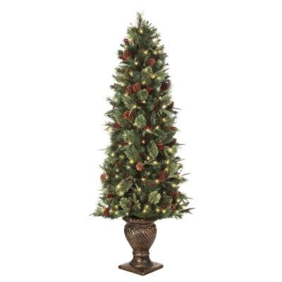 Martha Stewart Living 6 5 Ft Pre Lit Potted Artificial Christmas Tree With Clear Lights T Porch Christmas Tree Artificial Christmas Tree Christmas Tree In Urn