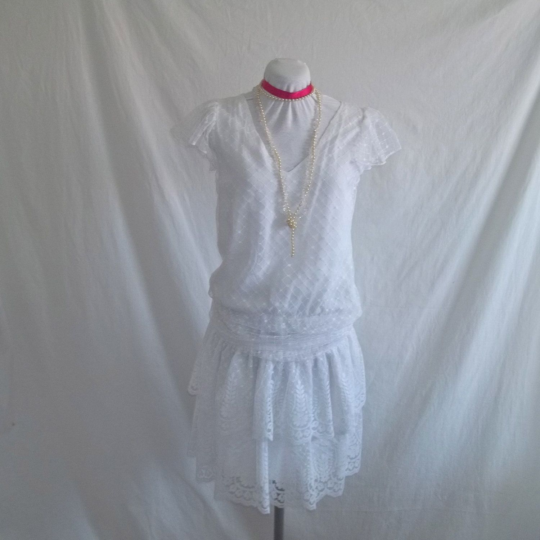 Vintage s white lace flapper wedding dress sz sm roaring