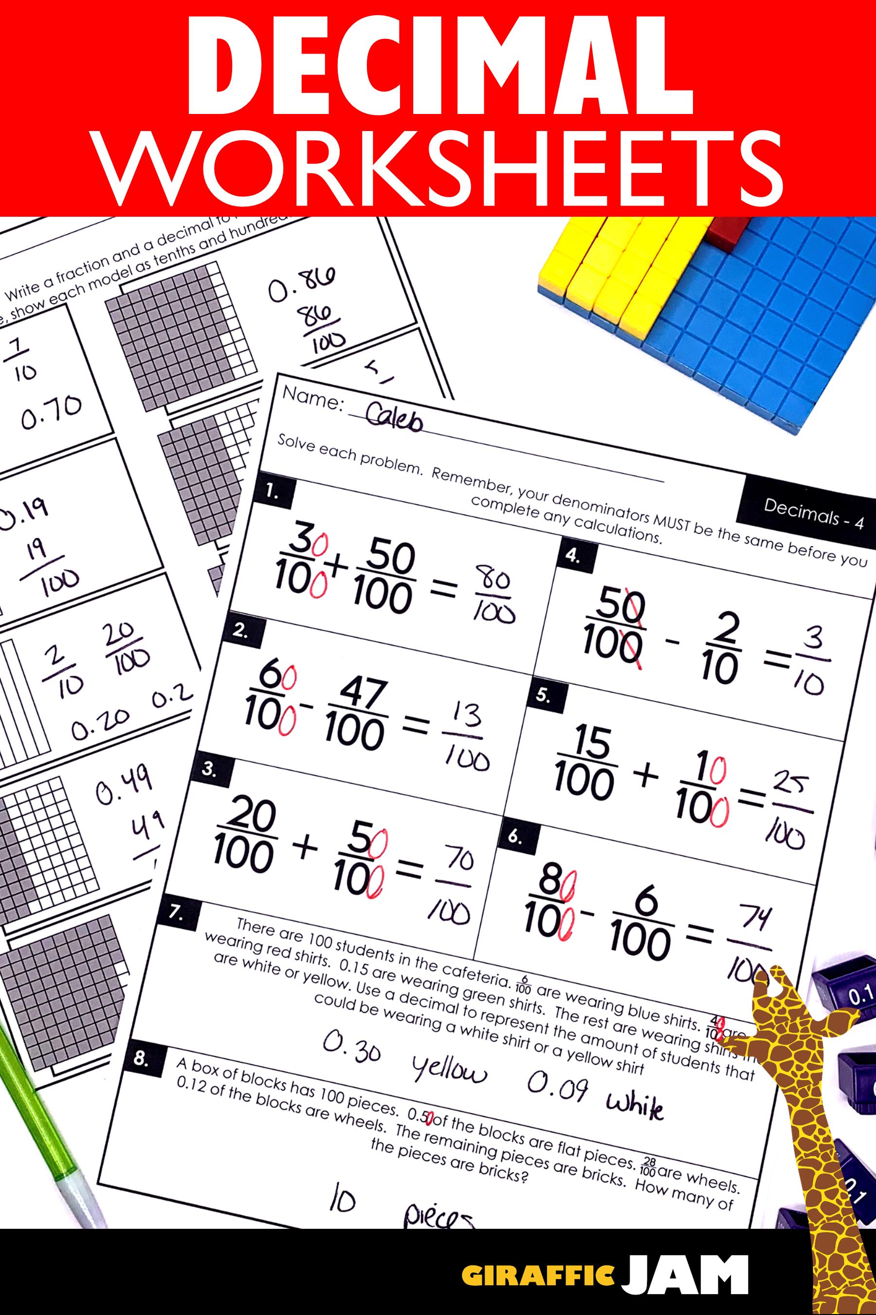 4th Grade Fractions Decimals Fraction Worksheets 4th Grade Math Worksheets Fraction Homework Fractions Worksheets Decimals Worksheets Fraction Homework
