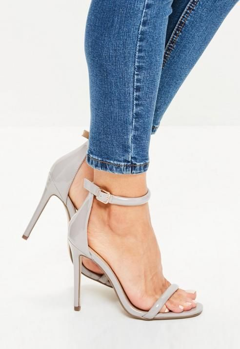 8974fd8be4b Missguided Grey Patent Rounded Strap Barely There Heels