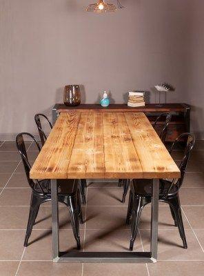 Tavolo in legno massello di larice stile industriale GABRY