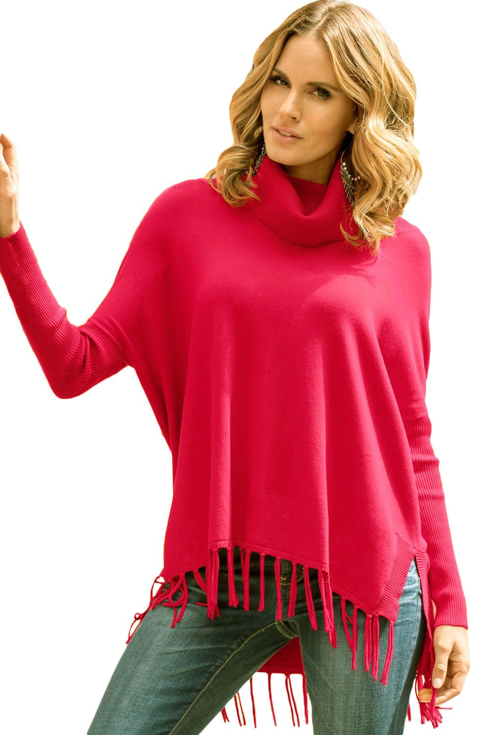 Red Turtleneck Fringe Hemline Tunic Sweater | Tunic | Pinterest ...