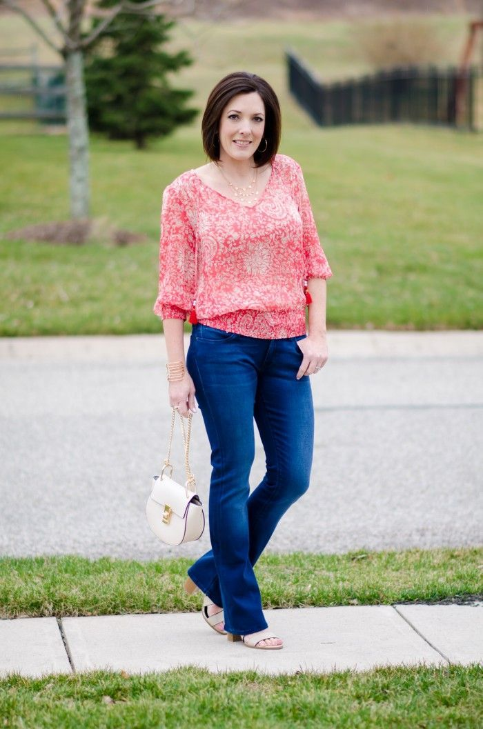 39cf464119b Fashion Over 40  Coral Banded Top with Baby Bootcut Jeans and Payless Romeo  Block Heel Sandal  PaylessforStyle