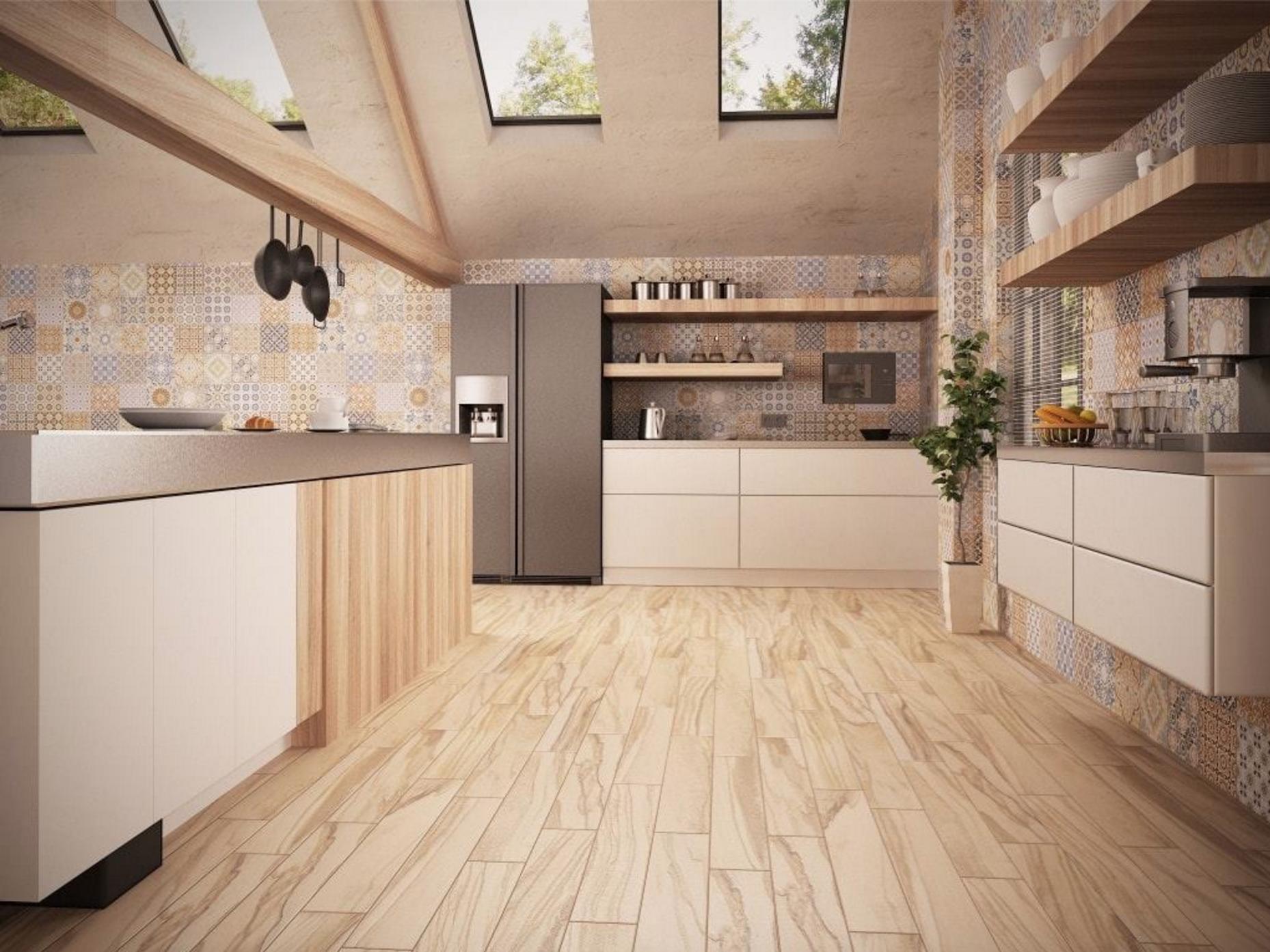Cocina realizada en colores crema con acabados en madera for Vinilo azulejo hidraulico