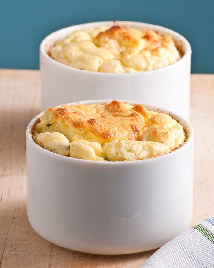 Twice Baked Goat Cheese Souffle with fresh herbs