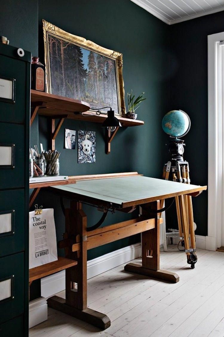 Home Office With Dark Green Walls And Vintage Architect Desk Homeofficeideas In 2020 Green Home Offices Dark Green Walls Green Interiors
