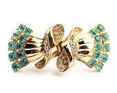 Coro Duette Clip Blue Rhinestones and Gold Tone Metal / Collectible Coro Jewelry / b4