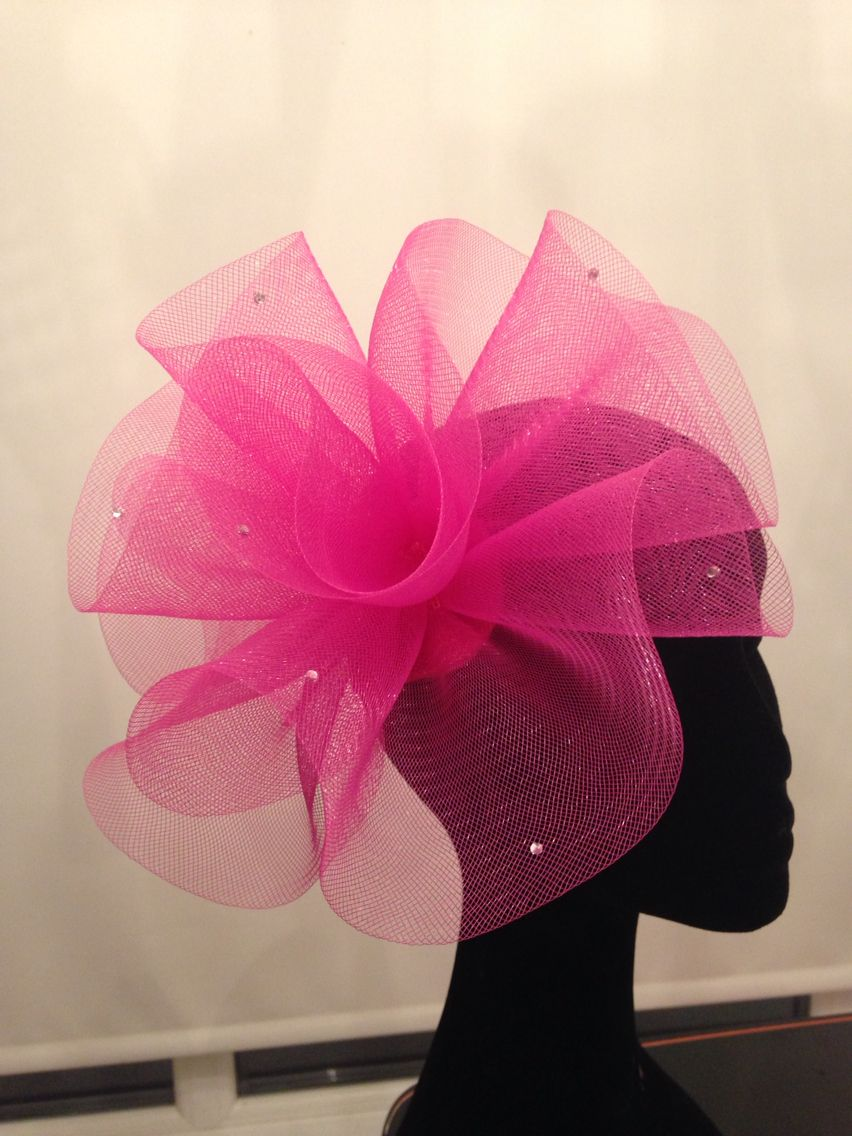 Cerise Pink Diamontes Crin Fascinator Races Ascot Wedding