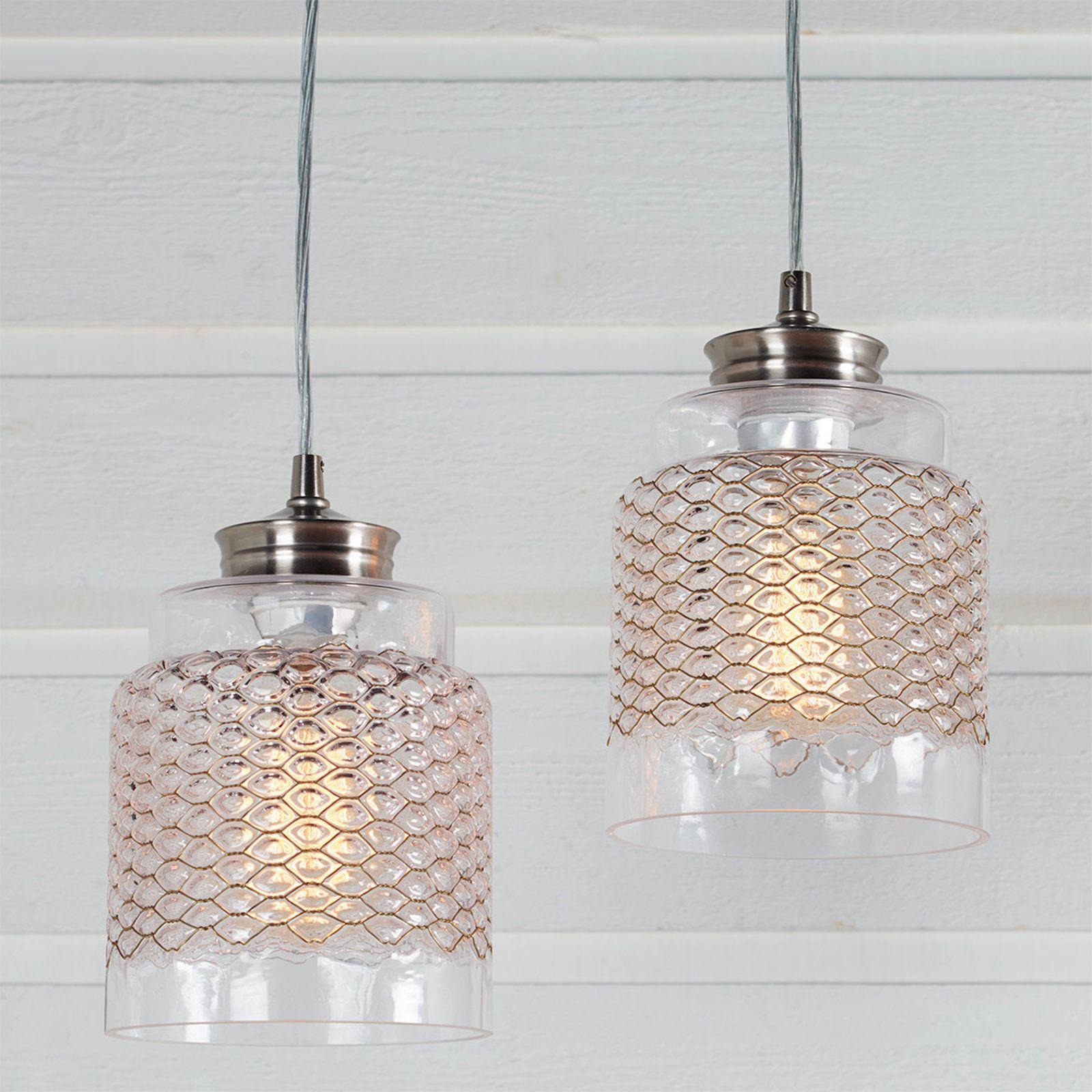 Metal Honeycomb Glass Pendant   Glass pendants, Chicken wire frame ...