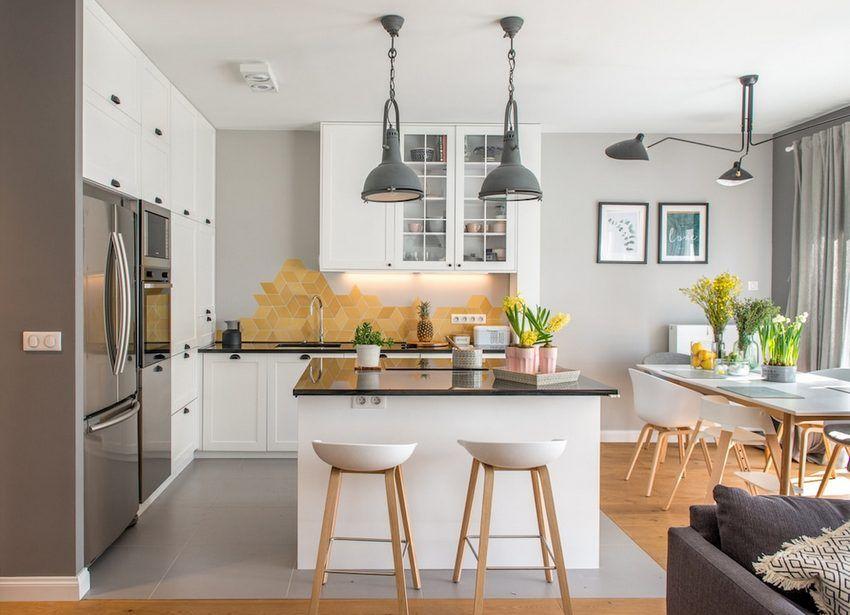 Modern könnyed világos közösségi tér - nappali konyha étkező ...